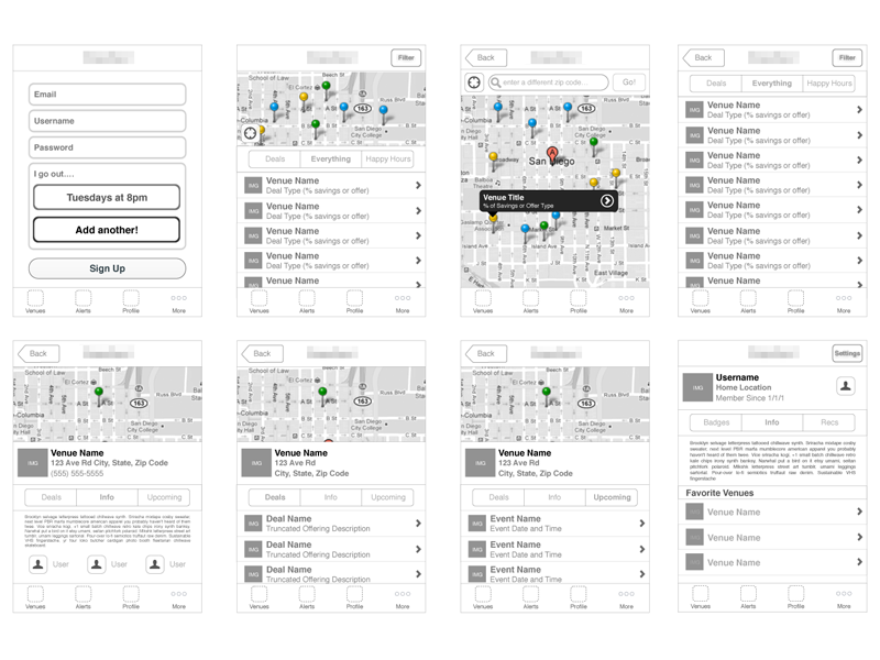 Contextual Deal App wireframe prototype ui ux
