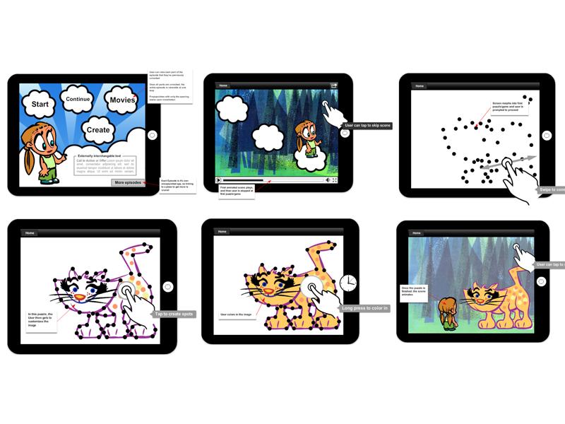 interactive cartoon concept tablet ui ux mockup wireframe cartoon game prototype