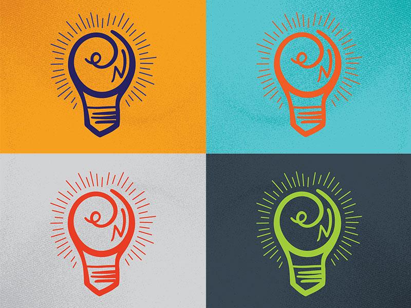 On doodle lightbulb on illustration