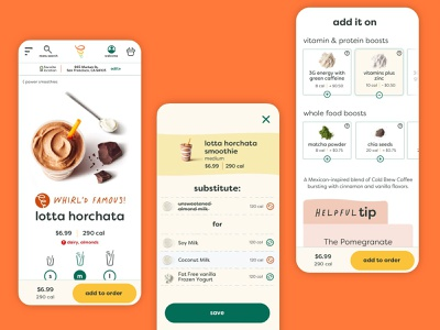 Jamba Smoothie Customization responsive customize restaurant website ecommerce smoothies website design product design ui