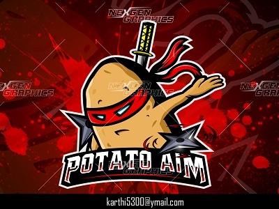 Ninja Potato Mascot Logo gaming mascot logo mascot logo gaming logo esports logo potato with sword samurai potato logo samurai potato ninja potato ninja potato logo potato logo