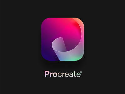 Procreate Icon Redesign gradient colorful redesign app icon procreate app procreate figmaonly paperroll paper swoosh p glass figma getcreativewithprocreate