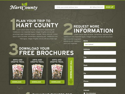 Hart County - Single Page green path numbers map