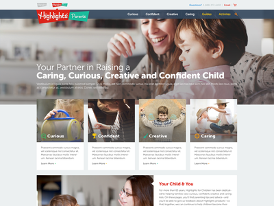 Highlights Parents web design user interface ui