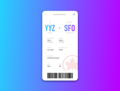 Daily UI | 024 | Boarding Pass