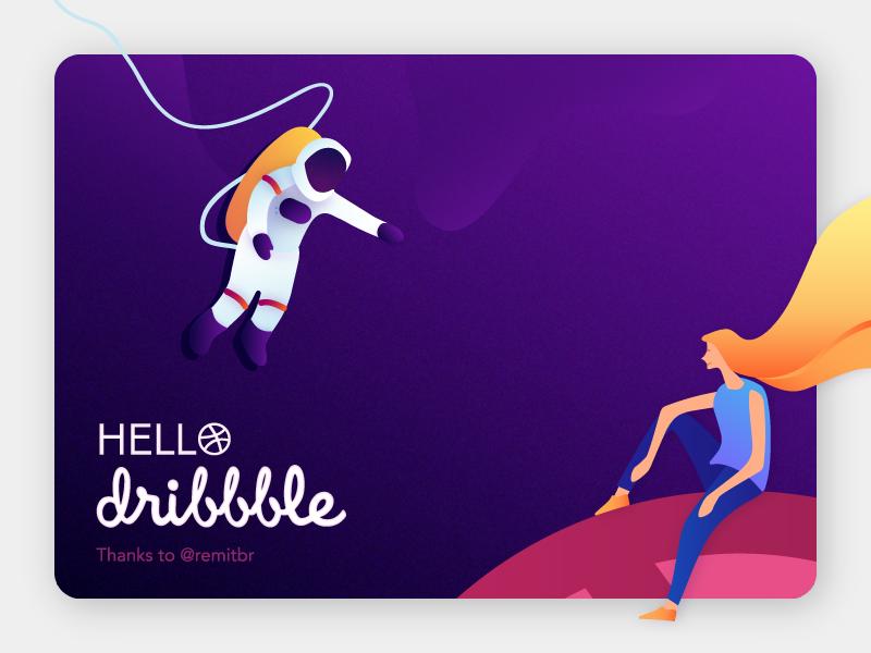 Hello dribbble! design space gradient illustration hello