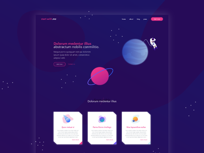 Space space landing page template mockup web illustration ui design
