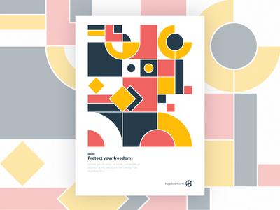 Geometric Knight poster yellow red design graphic pattern geometric