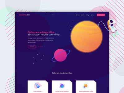 Space - New shot web ui design template mockup landing page illustration space