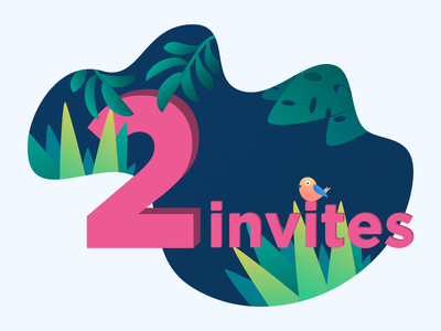 I've two invites for two awesome fellows! invites jungle dribbble illustration