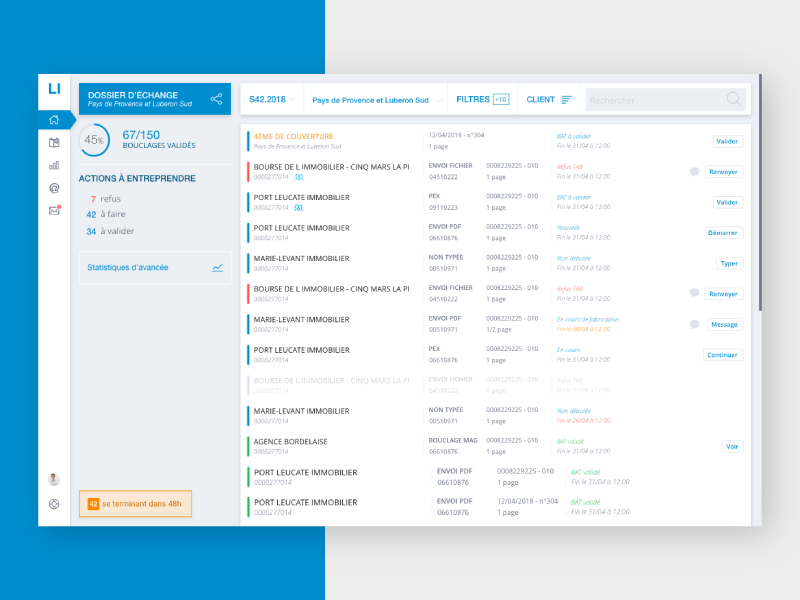 Logic-Immo Administration Dashboards - First peeks ui deisgn ux design classifieds dashboard administration blue