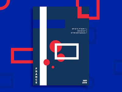 I was here - France poster rouge blanc bleu design france