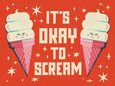 Scream ice cream vintage hand lettered lettering