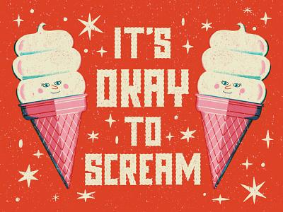 Scream ice cream vintage hand lettered lettering