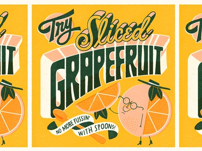 Try Sliced Grapefruit grapefruit vintage lettering