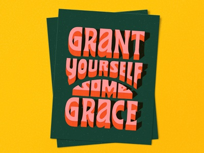 Grace retro type letters typography poster vintage hand lettered lettering