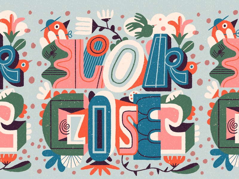 Look Closer bird letters hand lettered illustration vintage hand lettering typography lettering
