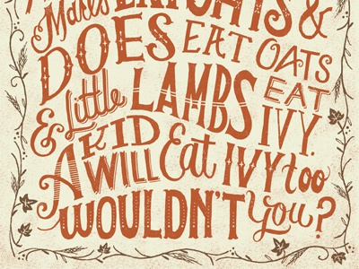 Little Lambs Eat Ivy hand lettered lettering nostalgic typography