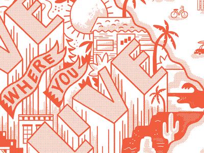 Live screenprint illustration halftone lettering