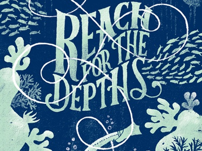 Ferocious Quarterly preview ferocious quarterly 2-color ocean deep sea scuba fish coral lettering typography illustration