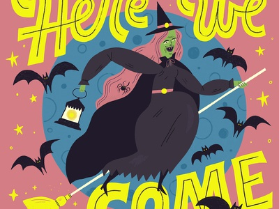 Witch moon broom bats witch halloween vintage hand lettered lettering illustration