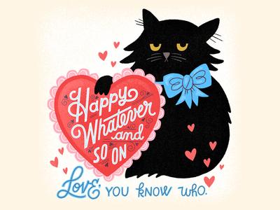 A Very Peppy Valentine cat illustration card valentine cat hand lettered vintage lettering