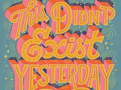 Exist illustration vintage hand lettered lettering