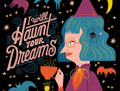 Haunt witch illustration lettering artist halloween lettering
