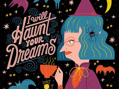 Haunt witch illustration lettering artist halloween lettering