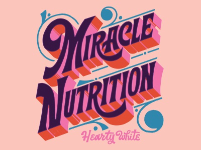 Miracle Nutrition vintage inspired retro nostalgic typography letters vintage hand lettered lettering