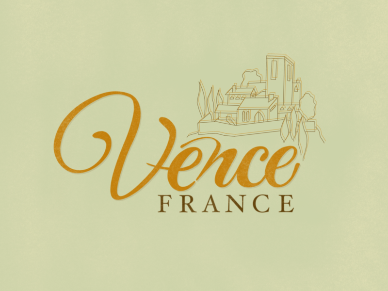 """Places I've Been"" : Vence, France logomark pro create personal project layout illustration art digital illustration vector branding calligraphy design typography hand lettering graphic  design logo"