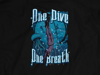 One Dive no tank scuba diving print design tee ocean shirt water sea monofin free diving