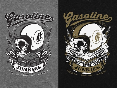 Gasoline Junkies pistons engine speed eleven carreras motorsport motorbikes illustration shirtdesign cars junkies gasoline