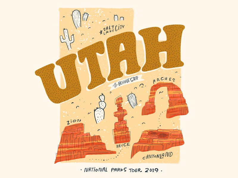 Utah Parks Map map illustration procreate typography lettering design illustration