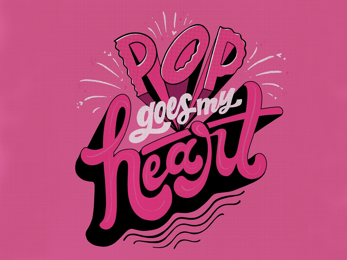 Pop Goes My Heart typography procreate lettering illustration design pink heart