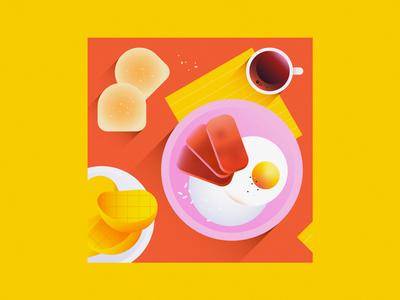 Filipino breakfast bread plate fruit spamsilog mangoes mango coffee pan de sal rice egg spam philippines breakfast filipino food 2d flat vector minimal illustration
