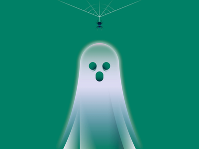 A ghost's dilemma dribbbleweeklywarmup instagram reel reel music web spider web ghost glowing spider halloween motion design animation 2d flat vector minimal illustration