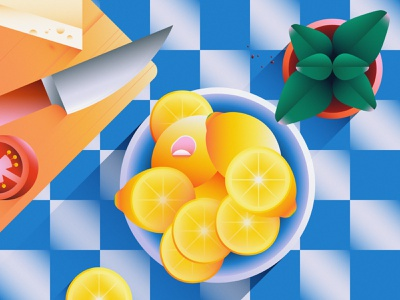 Freshly sliced shadow wood cutting board cheese knife slice tomato lemon plant basil kitchen tile fruit cooking food 2d flat vector minimal illustration