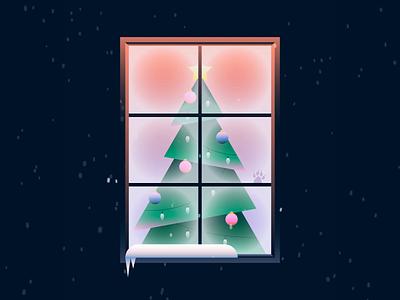Home for the Holidays happy holidays home animation tree window winter motion gif animated snow ornaments star lights holidays christmas tree christmas flat vector minimal illustration