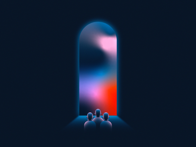 The Future Is Color color color gradient light tunnel new year 2020 2021 happy new year future door light gradient design 2d flat vector minimal illustration
