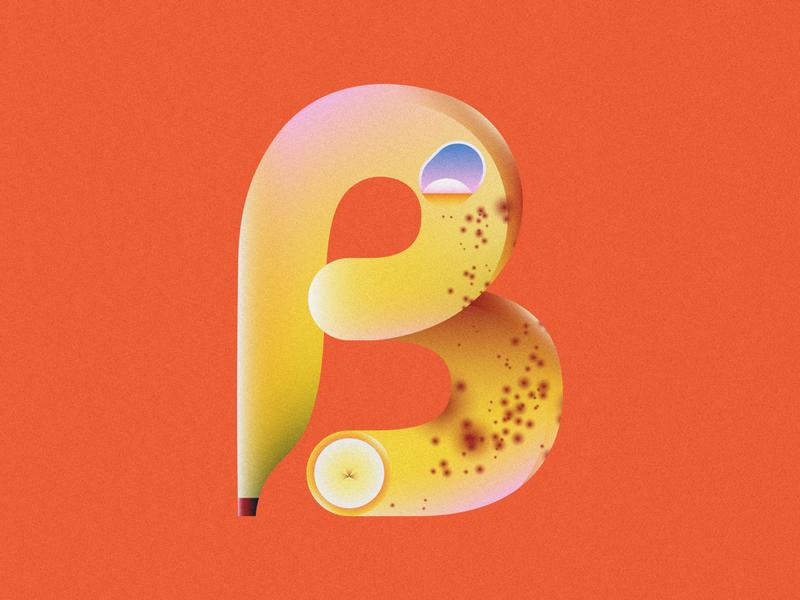 B is for Banana • 36 Days of Type ripe banana bananas letter b letter 36 days of type lettering alphabet typography 36 days of type 36daysoftype08 36daysoftype banana fruit design gradient food 2d flat vector minimal illustration