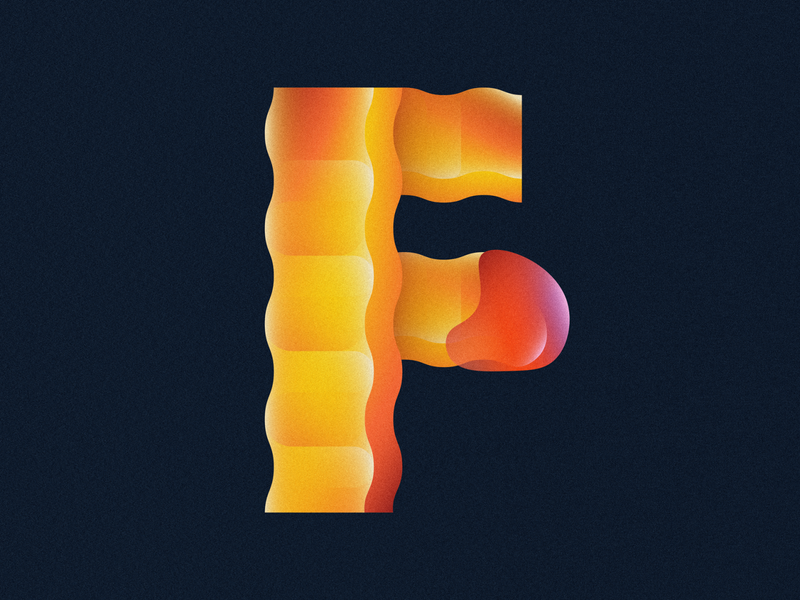 F is for Fries • 36 Days of Type typography letter f 36daysoftype 36daysoftype08 36 days of type grain ketchup fast food french fries crinkle cut fries french fry fry fries gradient food 2d flat vector minimal illustration
