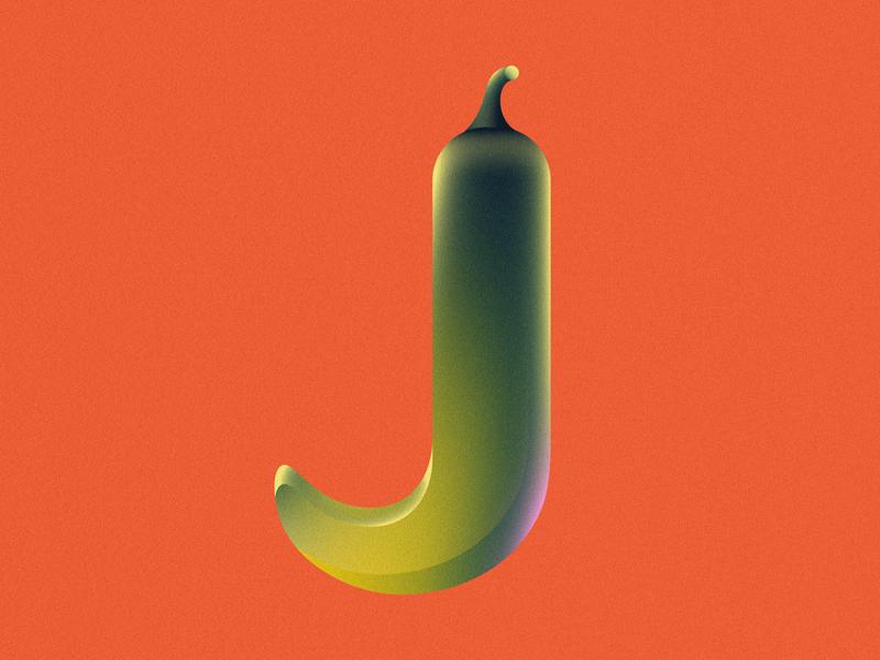 J is for Jalapeño • 36 Days of Type letter j alphabet letter lettering 36 days of type 36daysoftype08 36daysoftype spicy pepper vegatable jalapeno grain design gradient food 2d flat vector minimal illustration