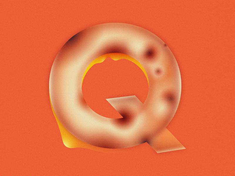 Q is for Quesadilla • 36 Days of Type q melting grain cheese tortilla quesadilla letter q alphabet lettering 36daysoftype08 36 days of type 36daysoftype design gradient food 2d flat vector minimal illustration