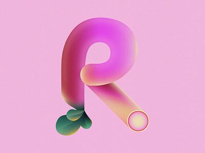 R is for Radish • 36 Days of Type typography leaves plant leaf alphabet letter r vegetable grain radish 36daysoftype08 36 days of type 36daysoftype design gradient food 2d flat vector minimal illustration