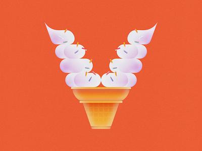 V is for Vanilla • 36 Days of Type soft serve vanilla cake cone cone ice cream cone ice cream letter v alphabet typography 36daysoftype08 36 days of type 36daysoftype design gradient food 2d flat vector minimal illustration
