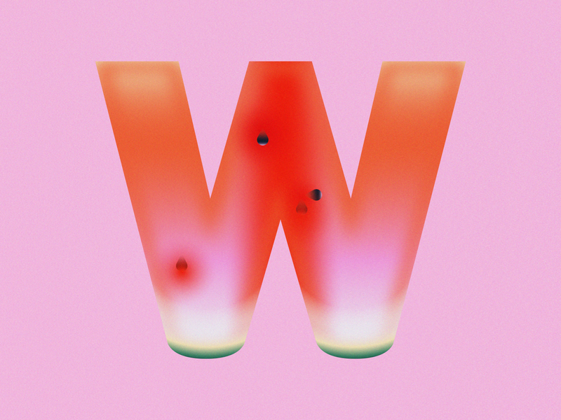W is for Watermelon • 36 Days of Type alphabet typography grain seeds letter w fruit watermelon 36daysoftype08 36 days of type 36daysoftype design gradient food 2d flat vector minimal illustration