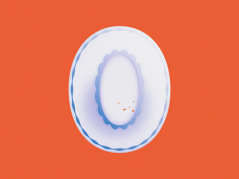 0 • 36 Days of Type plates crumbs fine china plate number 0 zero typography lettering alphabet 36daysoftype08 36 days of type 36daysoftype design gradient food 2d flat vector minimal illustration