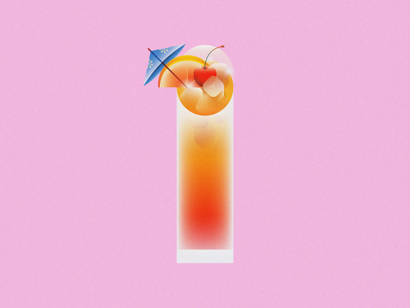 1 for the Road • 36 Days of Type orange cherry tequila sunrise alcohol drink cocktail lettering typography alphabet 36daysoftype08 36 days of type 36daysoftype design gradient food 2d flat vector minimal illustration