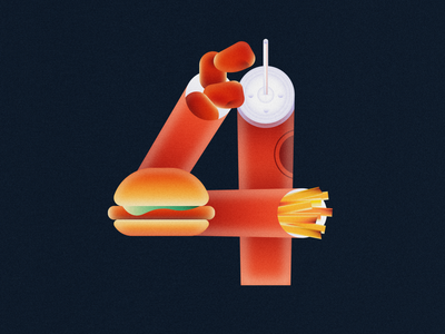 4 for $4 • 36 Days of Type typography number 4 soda fries chicken nuggets chicken sandwich fast food wendys 36daysoftype08 36 days of type 36daysoftype design gradient food 2d flat vector minimal illustration